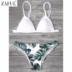 ed45fbd64de08 ZAFUL Sexy Brazilian Bikini Set Swimwear Women Swimsuit Bathing Suit Cami  Palm Leaf Print Biquini Swim Suit Maillot De Bain