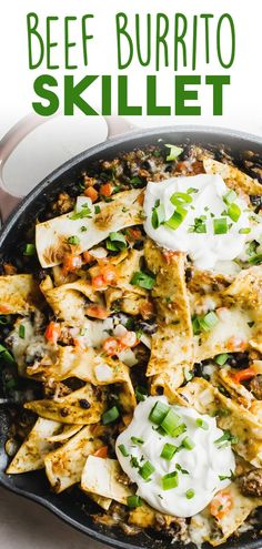 This deconstructed Beef Burrito Skillet meal is full of all the burrito flavor you love minus the hassle of preparing it. With ground beef, black beans, melted cheese, and strips of tortilla tossed in you crave this super quick and simple dinner. #BeefBurritoSkillet #BurritoSkilletRecipe #SkilletMeals