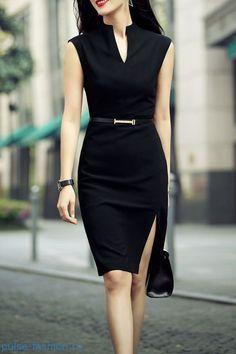 Стильные и модные офисные платья без рукавов 2018