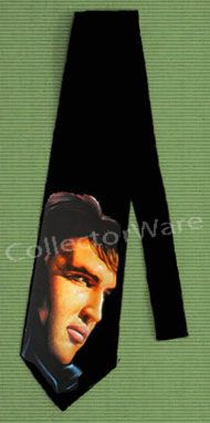 ELVIS PRESLEY drawing 2 CUSTOM ART UNIQUE TIE   Each necktie is individually hand-painted, a true and unique work of art indeed!  To order this, or design your own custom tie, please contact us at info@collectorware.com, or visit http://www.collectorware.com/neckties-elvis.htm