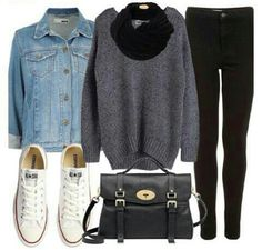 Like everything about this picture: white converse, leggings, oversized sweaters, scarves, and the leather purse!