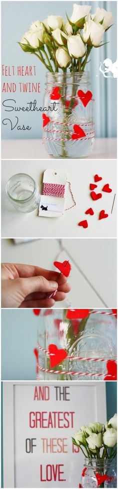 DIY: Felt Heart and Twine Mason Jar Vase | DIY Valentines Day Ideas