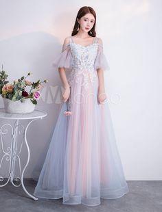 Prom Dresses Long Soft Pink Tulle Lace Cold Shoulder Floor Length Formal Party Dress