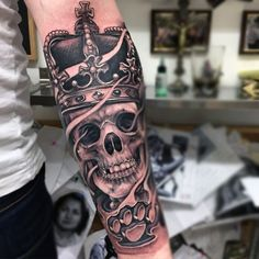 Grey Skull Crown Tattoo Forearms Male