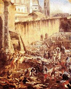 The Black Death. From Sicily in 1347, the plague spread rapidly up the leg of Italy into Europe, reaching England in June 1348, Norway in 1349, and Russia in 1351.  It is estimated that in the southern countries such as  Italy, where it raged for four consecutive years, the plague killed  three-quarters of the entire population, while in the northern  countries such as Britain, it killed about one quarter.  In all,  Bubonic Plague may have killed as many as 100 million people.