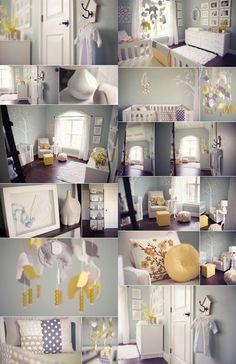 Idées de décoration pour une chambre de bébé dans les teintes de jaune et de gris.