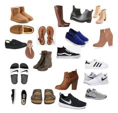 """""""My list of shoes"""" by lauralalazentner ❤ liked on Polyvore featuring UGG, NIKE, adidas Originals, American Eagle Outfitters, New Balance, Frye, Tory Burch, Charlotte Russe, Birkenstock and Vans"""