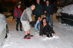 Lambdas and Sigmas sled down Greek Row during the university-wide #snowday closure. Seattle is the rainy city, not the snowy city. Whenever we do get a considerable amount of snow, the city retreats into a state of emergency and campus shuts down. This only means one thing: an impromptu mixer. Who doesn't like frolicking in the snow? The ladies were very impressed with out makeshift sled.