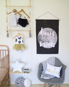 Dream bigger than the moon🌚 Hanging racks available online. White Kids Room, Monochrome Nursery, Monochromatic Color Scheme, Toddler Rooms, Hanging Racks, Nursery Design, Baby Room Decor, Kids Decor, Room Inspiration