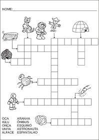 Saber e Saberes: Cruzadinhas com banco de palavras Crossword, Diagram, 1, Puzzle, Memes, Preschool Literacy Activities, Letter E Activities, Abc Centers, Reading Activities