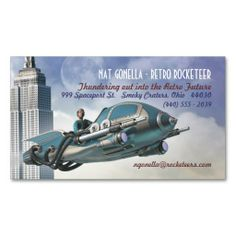 Retro Rocketeer Business Cards. I love this design! It is available for customization or ready to buy as is. All you need is to add your business info to this template then place the order. It will ship within 24 hours. Just click the image to make your own!