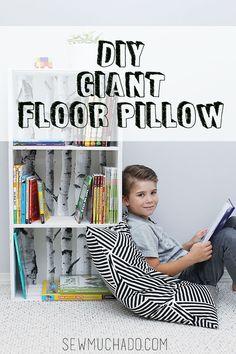 Giant Floor Pillow Tutorial! #sewmuchado #diypillow #diyfloorpillow #sewingtutorial #sewingforthehome #pillowtutorial #diy #sewing
