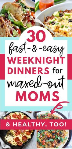 Do you feel overwhelmed when you think about dinner? Life is crazy but here's help! Here are 30 dinner recipes that are fast easy & healthy-the perfect solution for those crazy weeknights! And they're kid-friendly! Come see if you're a busy mom! Easy Kid Friendly Dinners, Easy Family Dinners, Fast Dinners, Easy Weeknight Dinners, Easy Healthy Dinners, Healthy Kid Friendly Recipes, Easy Kids Meals, Cheap Family Meals, Fast Easy Meals