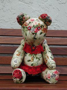 Personalized Bear, Handmade Teddy Bear, Keepsake Original, Namesake Gift Bear, Floral Teddy Bear, Valentine Bear, Collector Teddy Bear
