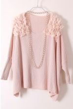 Pink Shoulder Chiffon Batwing Long Sleeve Sweater $36.48  #SheInside #cute #fashion #style #hipster #follow #repin #vintage