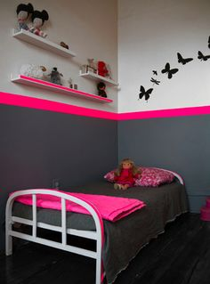 the boo and the boy: eclectic girls' rooms.. Could make it a boys room by changing the pink to bright blue.