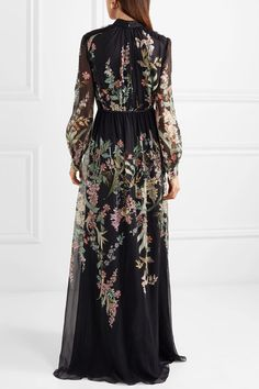 GABRIELLE'S AMAZING FANTASY CLOSET | Giambattista Valli's Black Silk Placed-Print Multi-Color Floral Gown (Back Image) You can see all of the Images of this Gown and the rest of the Outfit and my Remarks on this board. - Gabrielle