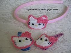 Lana e Cotone (maglia e uncinetto): Fermagli con Hello Kitty
