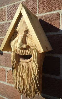 Hand Carved Face Birdhouse