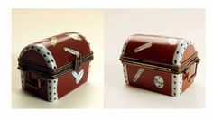 Vintage LIMOGES Porcelain Box Travel Trunk by seasidecollectibles