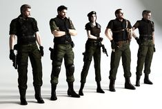(From left to right) Albert Wesker, Chris Redfield, Jill Valentine, Barry Burton and Richard Aiken.