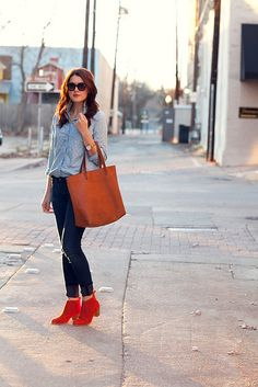 Denim and bright boots via Kendi Everyday
