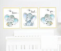 Be kind, be brave Blue Gray Elephant Wall Decor, Elephant Print Canvas Stickers Print wall art Baby Boy Nursery Decor Children set of 3