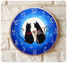 The love cats Wall Clock Blue Moon Home Decor for by ArtClock