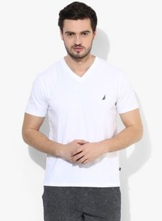 Nautica White Solid Slim Fit V Neck T-shirt