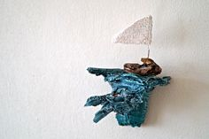 Ayelet Gad- little wooden boat on a blue stormy wave, Rustic Wall Decor Art, Reclaimed Wood Painting, Mixed Media Collage Art by AyeletGadArt on Etsy