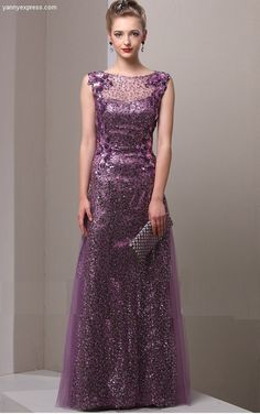 Pintuck Panel Sequin Illusion Column Evening Ball Gown