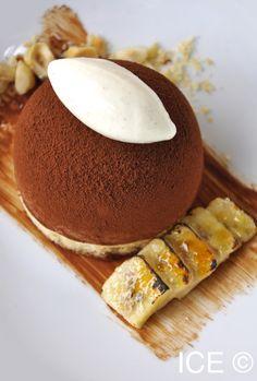 Gianduja Parfait with Praline Cream, Hazelnuts, Vanilla Ice Cream and Caramelized Bananas