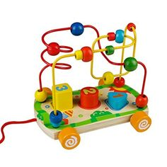 """When kids pull the bead maze car, two cute eyes on the front of the toy will move up and down. Bead maze wooden puzzle toy improves kids' hand-eye coordination and imagination.       Famous Words of Inspiration...""""Toleration is the best... more details available at https://perfect-gifts.bestselleroutlets.com/gifts-for-babies/toys-games-gifts-for-babies/product-review-for-bead-maze-wooden-toy-colorful-shape-sorter-pull-push-cars-with-string-rope-birth"""