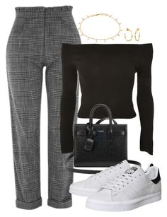 """Untitled #1547"" by morggz ❤ liked on Polyvore featuring Topshop, Yves Saint Laurent, adidas and Missoma"