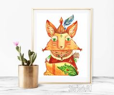Nursery Print Animal Art Fox Print Art Nursery Fox Indian Print Boho Printable Nursery Animal Art Boho  My prints are a high quality image on a thick, beautiful, textured paper (the base weight of the paper is 250 - 300g). The drawings are bright.  All prints in the shop printed by the originals of my works.  I care about your orders therefore all prints are packed in the thick corrugated cardboard and sealed in a postal plastic bag to the transporting. Such packaging allows the drawings to…