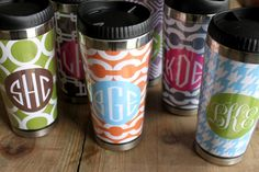 Personalized Travel Mug with Monogram *Choose Your Color & Design Your Own*
