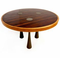 Angelo Mangiarotti; Rosewood, Walnut and Bronze Dining Table for Sorgente dei Mobili, c1972.