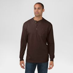 Dickies Men's Big & Tall Cotton Heavyweight Long Sleeve Pocket Henley Shirt- Chocolate Brown Xxl Tall