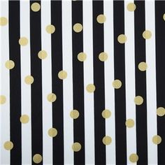 "APT3-10 Black, White & Gold Fabric -- ""lack, White & Gold Polka Dot & Stripe Fabric is 44"" - 45"" wide and 100% cotton. What's life without a little fun?! Create exciting clothing and home accents using this gorgeous black and white striped fabric with gold polka dots."""