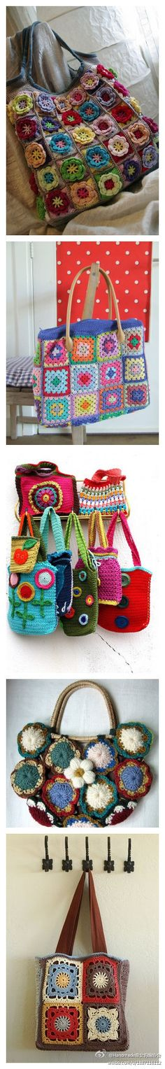 collection of crochet bags