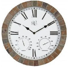Designed for versatile function, the River City Clocks Tile Indoor/Outdoor 15 in. Wall Clock with Temperature & Humidity can be used both indoors.
