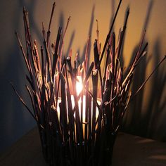 Willow branch candle holder.