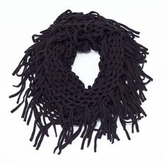 "A classic open-weave knit and fringe infinity scarf. With an array of colors to choose from, get the one that best suits your outfit. - 25"" x 11"" - poly/acrylic choose from Beige, Black, Blue, Burgund"