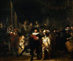 La ronde de nuit (1642) de Rembrandt. Ce tableau représente une compagnie de la milice bourgeoise des mousquetaires d'Amsterdam, commandée par Frans Banning Cocq, sortant en armes d'un bâtiment.