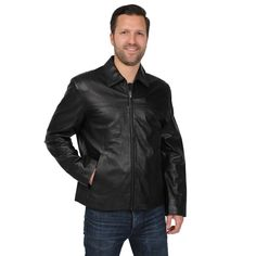 EXcelled Men's Lamb Open Bottom Jacket with Self Belted Back
