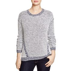 Two by VINCE CAMUTO Waffle Knit Sweater ($99) ❤ liked on Polyvore featuring tops, sweaters, black orchid, textured sweater, long sleeve pullover, waffle top, gray top and long sleeve tops