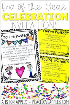 Use these invitations to send home to families about an end of the school year celebration. Type in the date and time of your party and send home!