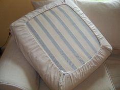Great slipcover technique for cushions. http://pinkandpolkadot.net/2010/10/fridays-featured-slipcovers-34.html