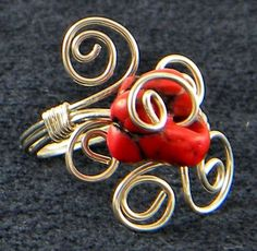 Sterling Silver Wire Wrapped Red Nugget Stone Bead Cocktail Ring | AmeliaOriginals - Jewelry on ArtFire