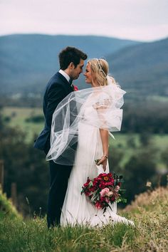 A Relaxed Floral Estate Wedding | Catherine Forge Photography Anna Campbell Bride | Miranda Dress | Hand beaded | Shoulder and Back detail bridal gown | Bright pink wedding bouquet | Winery Wedding Styling | Vintage inspired wedding dress | Beaded bridal headpiece